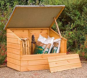 Wooden Garden Storage Chest Box With Removable Front Panel