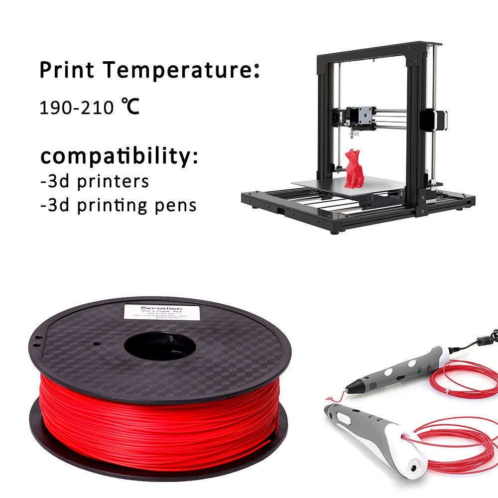 2.2LB Pxmalion PLA 3D Printer Filament Red Net Weight 1KG Accuracy +//- 0.03mm 1.75mm Compatible with Most 3D Printers /& 3D Printing Pens eTranslab Inc.