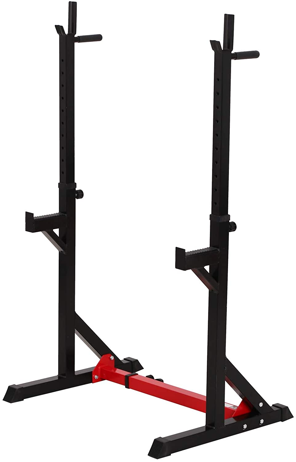 Soozier 2-Piece Pair Steel Height and Base Adjustable Barbell Squat Rack and Bench Press