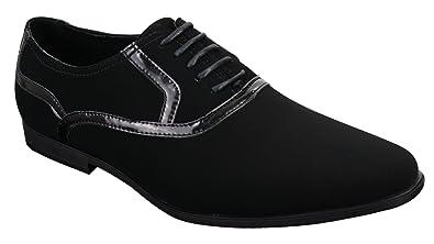 Galax Chaussures Hommes Simili Daim Cuir Verni Brillant Lacets Smart  décontracté Noir 0c220366b635
