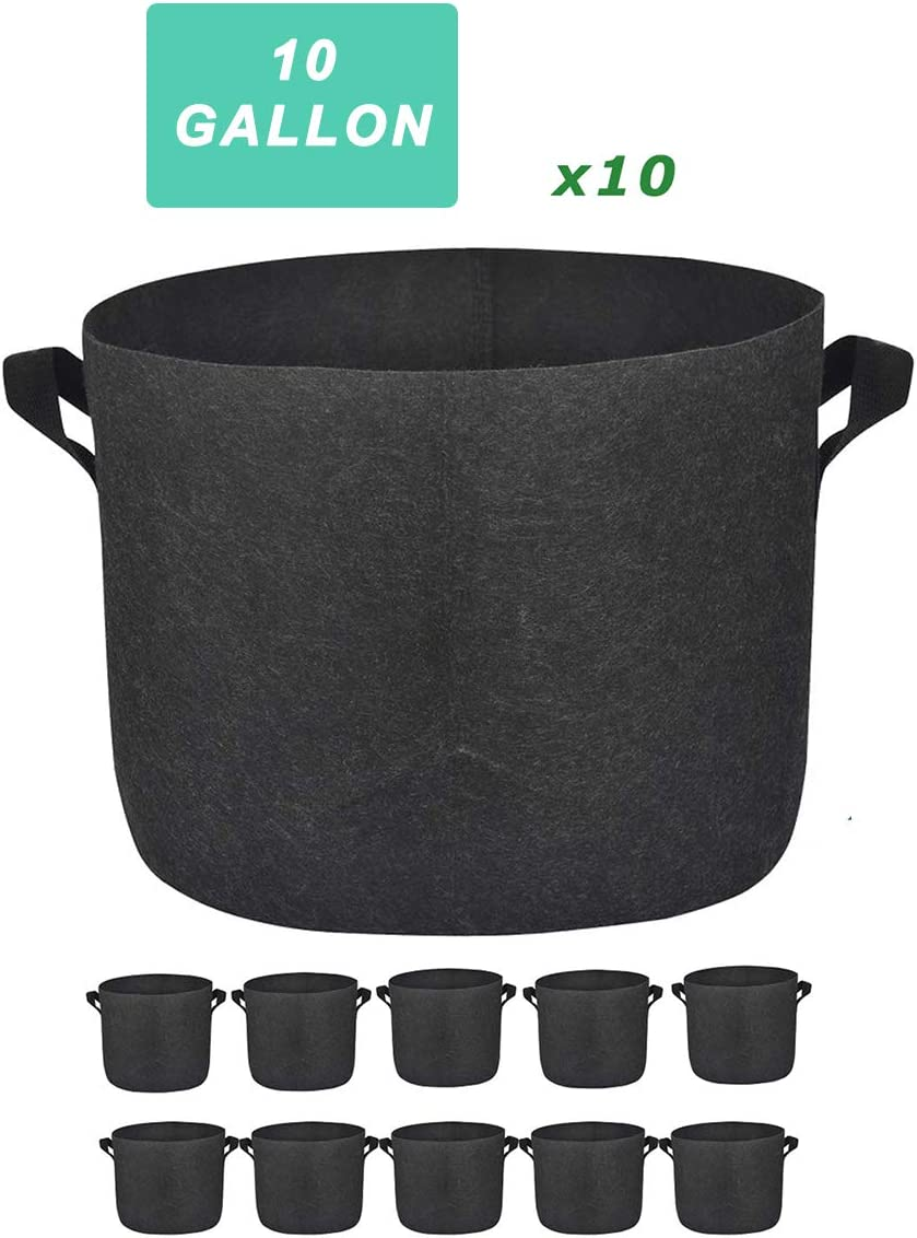Kingdely 10 Gallon Plant Bags, Nonwoven Thick Fabric Pot Bag with Handles,Vegetable Grow Containers for Indoor & Outdoor Planting (10 Pack)