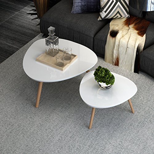 INLYF Nesting End Tables, Corner Stacking Tea Table, Modern Furniture Decor Side Coffee Table for Living Room, Balcony and Office, set of 2