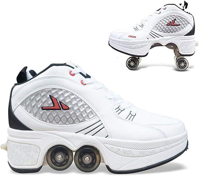 YZJYB Doble Fila Patines Multiusos 2 En 1 Zapatillas para Skateboard Botas De Patín De Cuatro Ruedas Ajustables Deformación Zapatos para Caminar Al Aire Libre para Adultos: Amazon.es: Deportes y aire libre