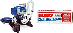 Graco Magnum 257025 Project Painter Plus Paint Sprayer & Poly America 03509H 9-Feet X 400-Feet .31 Mil High Density Painters Poly Film