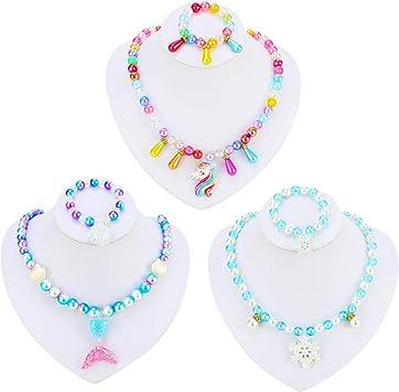 Style 1 10 Pi/èces Color/ées Bijoux en Bois Collections Petite Fille Princesse Collier Bracelet Faveur de F/ête Ensemble