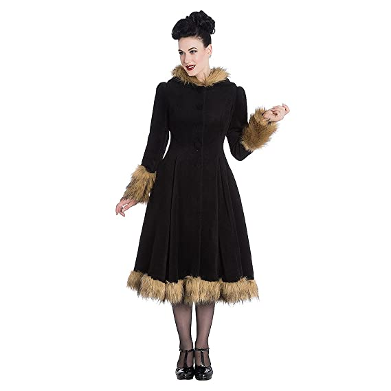 1940s Style Coats and Jackets for Sale Hell Bunny Womens Isadora Coat (Black) $207.61 AT vintagedancer.com