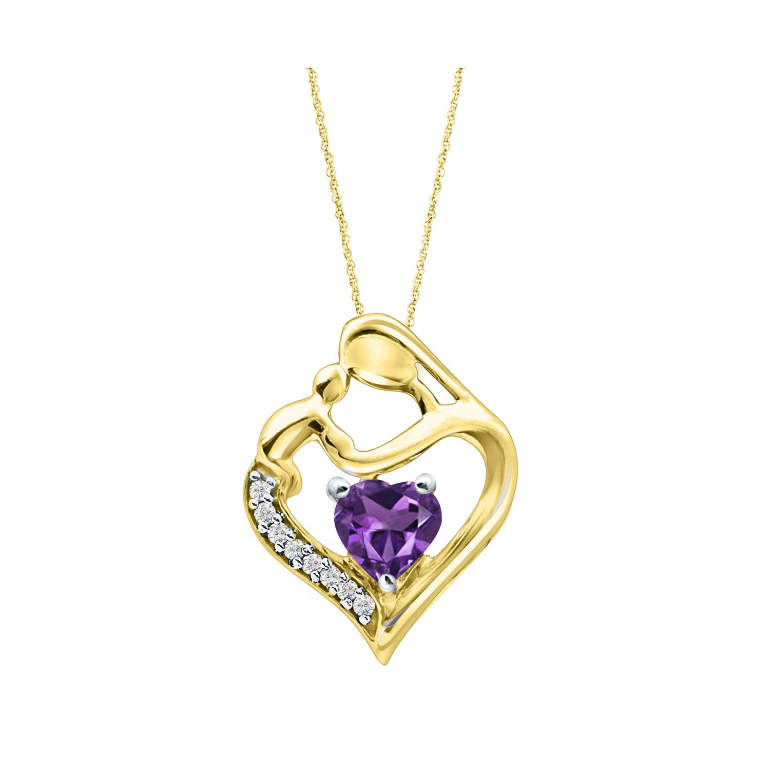 DiscountHouse4you Mother Child Simulated Amethyst Pendant Necklace for Mother 14k Yellow Gold Plated