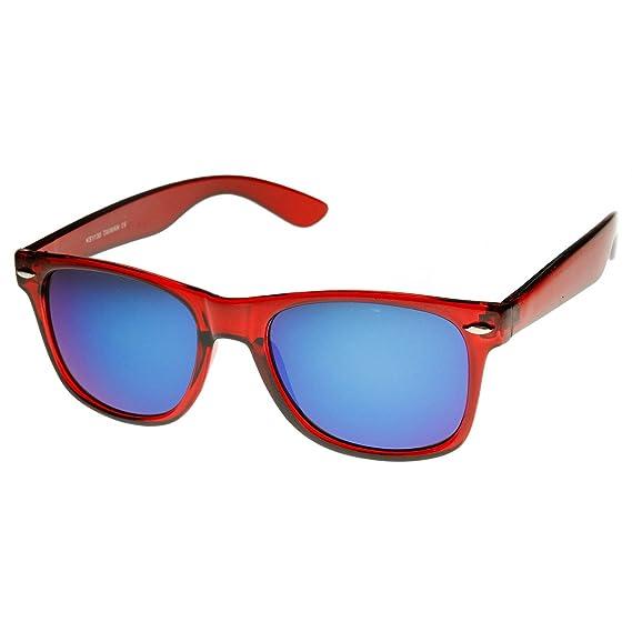 706e0dac15f Retro Bright Wayfarer Sunglasses with Colorful Mirrored Lenses - UV400