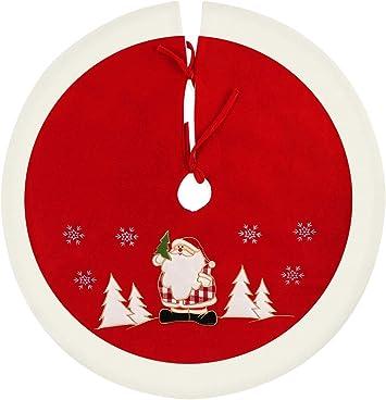 ilauke Jupe de Sapin de Noël Rond Couverture Sapin de Noël Couverture de  Sapin de Noël Protection Contre Les Aiguilles de Sapin de Noël Rouge/Blanc