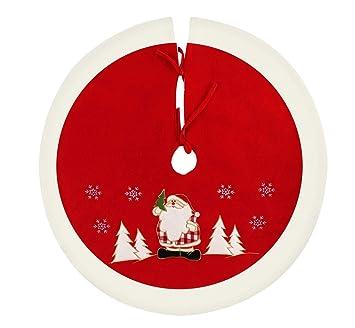 Agoer Jupe de Sapin de Noël Rond Couverture Sapin de Noël Couverture de  Sapin de Noël Protection Contre Les Aiguilles de Sapin de Noël Rouge/Blanc
