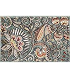 Cheap Giselle Transitional Floral Seafoam Scatter Mat Rug, 2′ x 3′