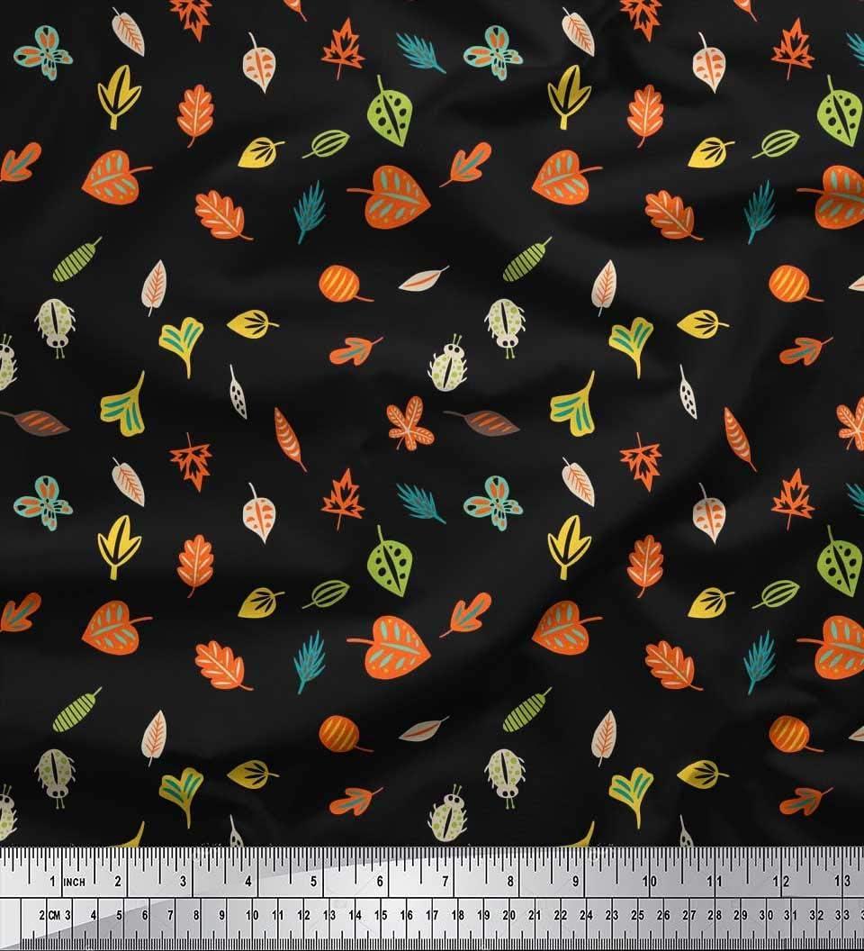 Soimoi Tela Negra De Algodón Cambric Insectos Y Hojas Clip Art ...