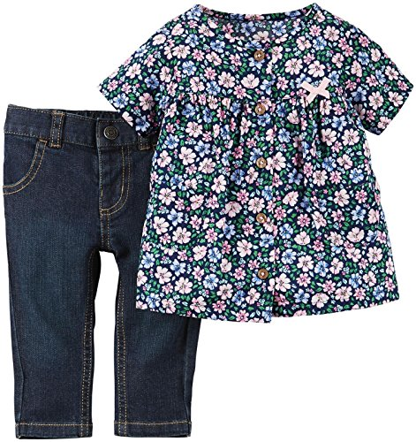 (Carter's Baby Girls' 2 Piece Floral Tunic Set, Multi, New Born)