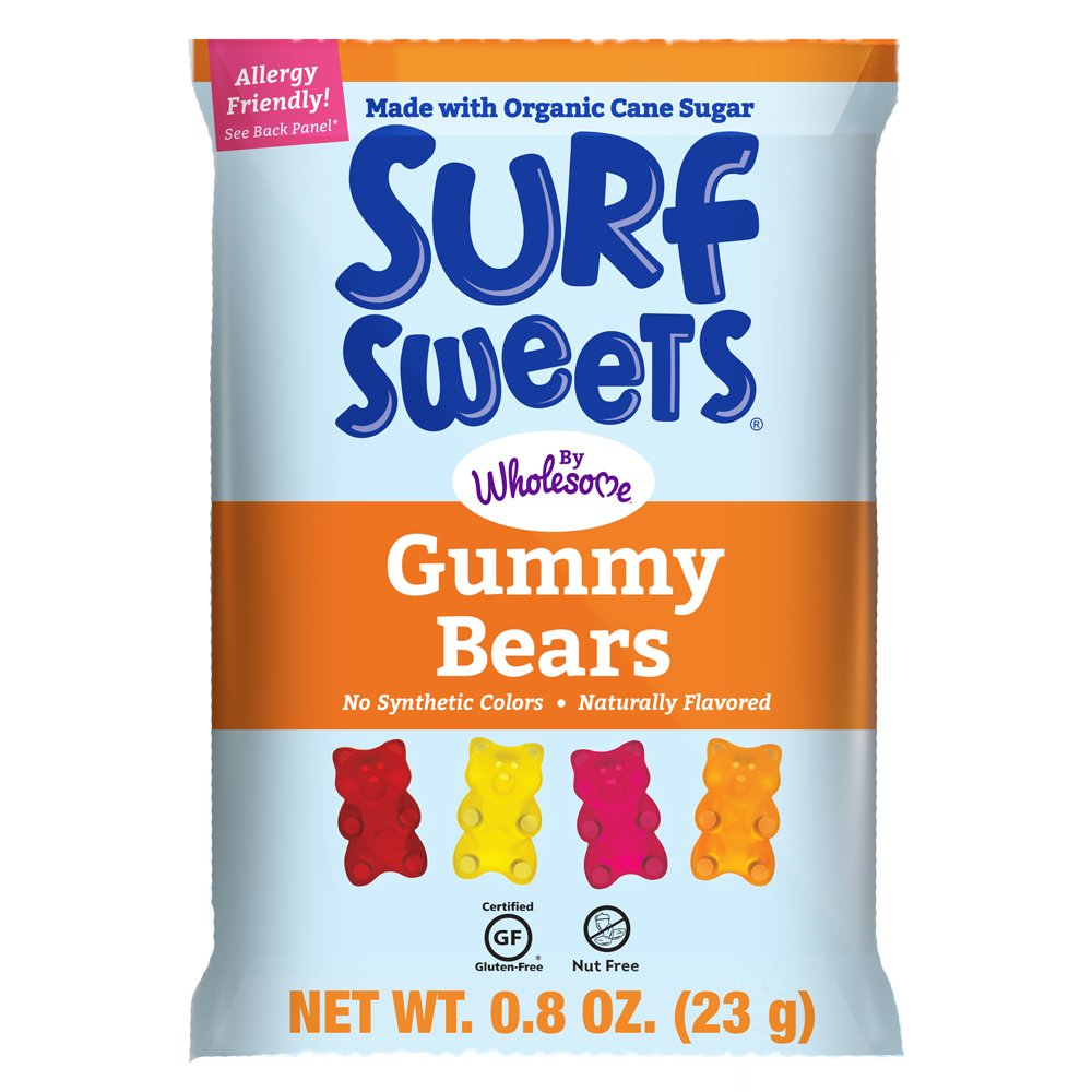 Surf Sweets Gummy Bears, Nut Free, Gluten Free, Dairy Free, 0.8 oz (24 Count)