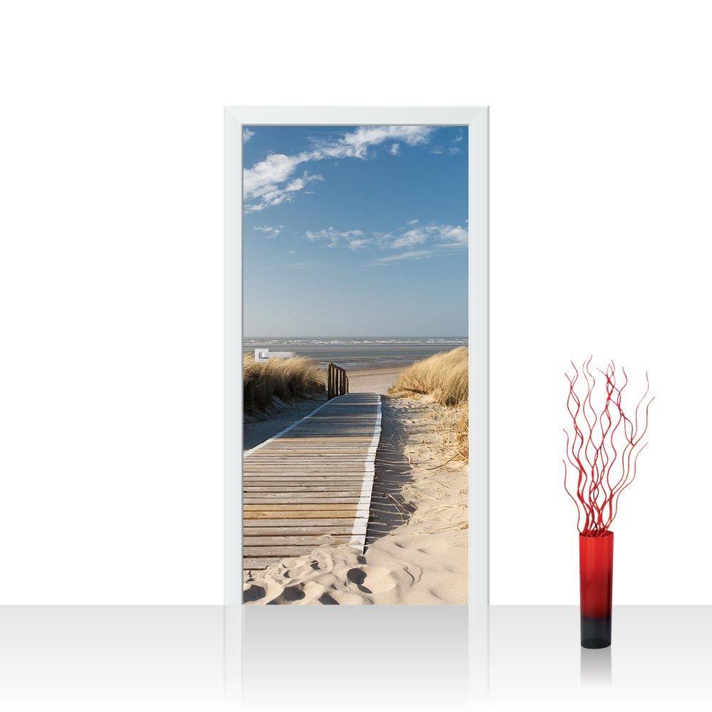 Porta carta da parati adesiva 100x 211cm Premium Plus porta foto porta carta da parati Poster porta panel foto carta da immagine–North sea Dunes–Spiaggia Mare del Mare del Nord del Mar Baltico Beach acqua blu cielo sole estate–No. 038 ENNKJ