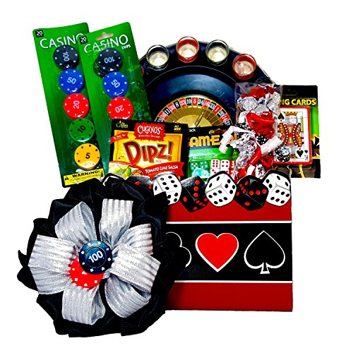 Casino Night Gift Set - Shot Glass Roulette Drinking Game, Poker Size Playing Cards, Casino Style Dice, 2 Casino Poker Chips Sets, Cugino's Tomato Lime Salsa Delicious Dip, & Candy (Casino Night Games)