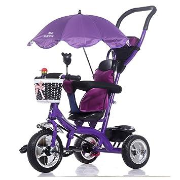Triciclos- Trike para niños Carruaje para bebés niños Bicicleta 1-6 años Bebé Grande para niñas Coche 3 Ruedas (Color : Purple): Amazon.es: Hogar