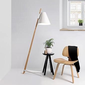 Pie, suerte piedra lámpara de pie de madera y metal diseño ...
