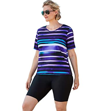 54fc03e1a64 Image Unavailable. Image not available for. Color: Woman Within Plus Size Colorblock  Swim Tee with Sun Protection ...