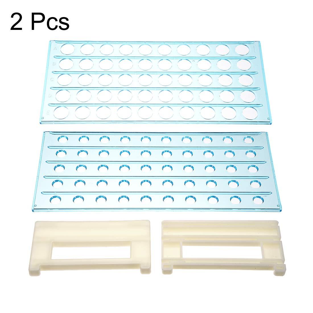 80 unidades Juego de 2 tubos de polipropileno Sourcingmap 40-Well color azul oscuro
