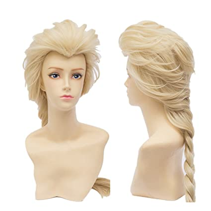 COSPLAZA Cosplay peluca 65 cm larga Frozen Snow Princess Queen Elsa mujer Kanekalon Party Cabello Blonde