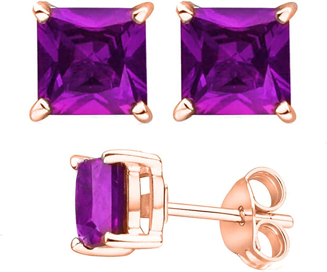 Unique 925 Sterling Silver Combo Cubic Zirconia Simulated Amethyst /& Simulated Citrine Color Round Stud Earrings 2.00 Carat Total Weight Each Pair