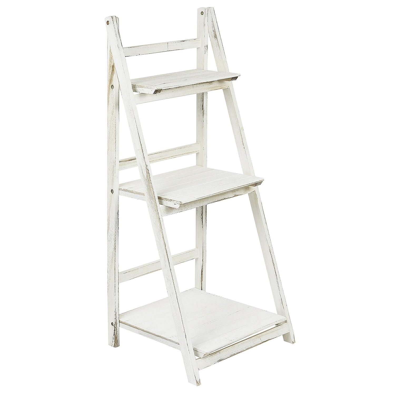 Hartleys 3 Tier Folding Ladder Shelf - White Wash