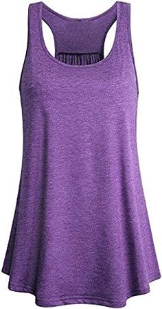 Camiseta de Tirantes para Mujer,Camiseta sin Mangas con Cuello en V sin Mangas de algodón Fluido Deportivo sin Mangas para Mujer Blusa Tops Chaleco Mujer LMMVP (M, Púrpura): Amazon.es: Hogar