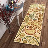 Well Woven Non-Skid Slip Rubber Back Antibacterial 2×7 (2′ x 7′ Runner) Rug Kino Paisley Multi Beige Red Modern Floral Thin Low Pile Machine Washable Indoor Outdoor Kitchen Hallway Entry Review