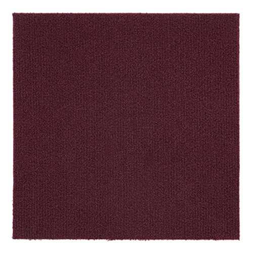 Peel and Stick 12x12 Self Adhesive Do It Yourself (DIY) Ribbed Carpet Floor Tiles for Residential & Commercial Carpet Squares for Flooring Use (Burgundy)