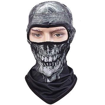 tclian máscara de calavera pasamontañas Rib tejidos esqueleto fantasma Headwear Bandana motocicleta ciclismo esquí máscaras faciales ...