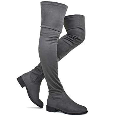 61e31c759a0 Premier Standard - Women s Fashion Comfy Vegan Suede Block Heel Thigh High  Over The Knee Boots