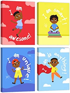 Boys Room Wall Art Decor Motivational Black Boys Canvas Prints Decoration for Boys Bedroom African American Artwork with Inspirational Words for Kids or Teen Boys Gift Idea Framed Canvas Set of 4