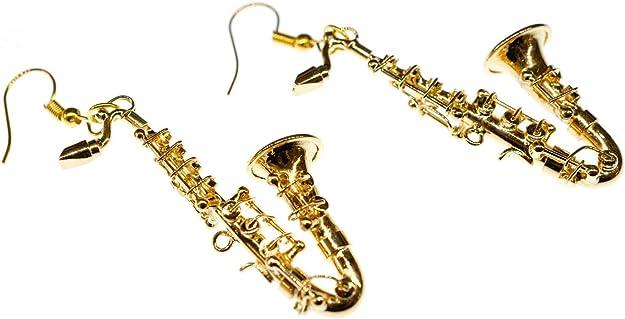 Boucles d'oreilles saxophone boucles saxophone Miniblings saxophoniste de jazz Sax + or Box