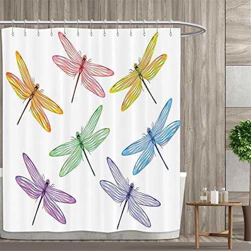 (Country Decor Collection Shower Curtains Digital Printing Group of Dragonflies with Colored Patches and Elongated Body Flat Winged Wild Animal Design Satin Fabric Bathroom washable 72