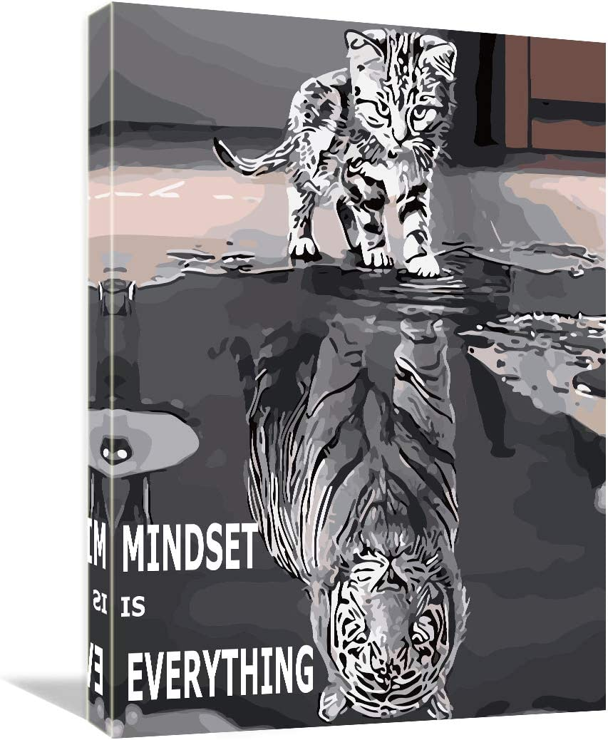 "Mindset is Everything Canvas Art -Motivational Inspirational Mindset Poster Print -Modern Picture Painting Framed for Living Room Office Wall Decor- 12"" x 16"""