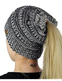 Womens Beanie Tail Ponytail Winter Warm Stretch Cable Messy High Bun Knit Hat