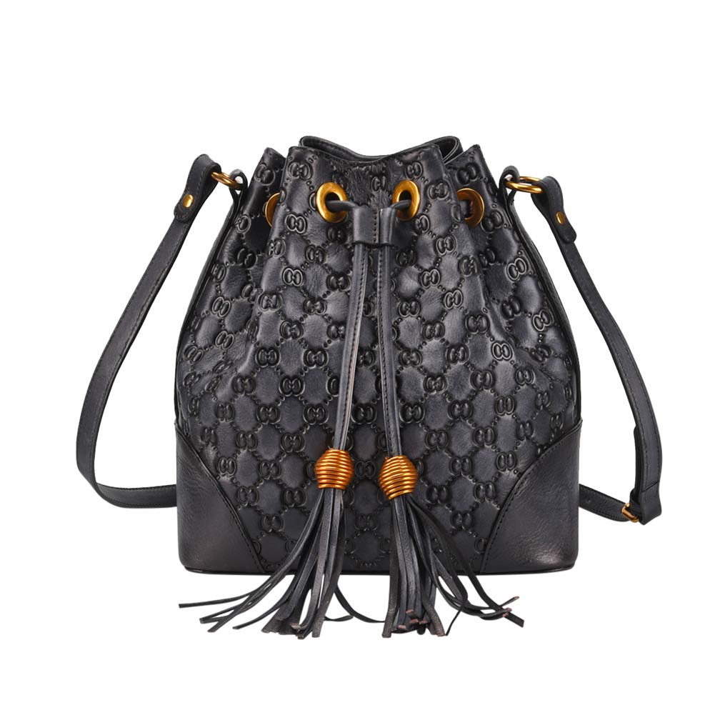 VOOO4CC Women Drawstring Shoulder Bag Leather Retro Tassel Crossbody Satchel Bag (Black)