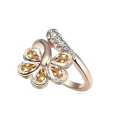 Blisfille Anillos con Diamantes Falsos Joyería de Anillo de Flor Anillo de Chapado en Oro Anillo de Oro de La Talla 15: Amazon.es: Joyería