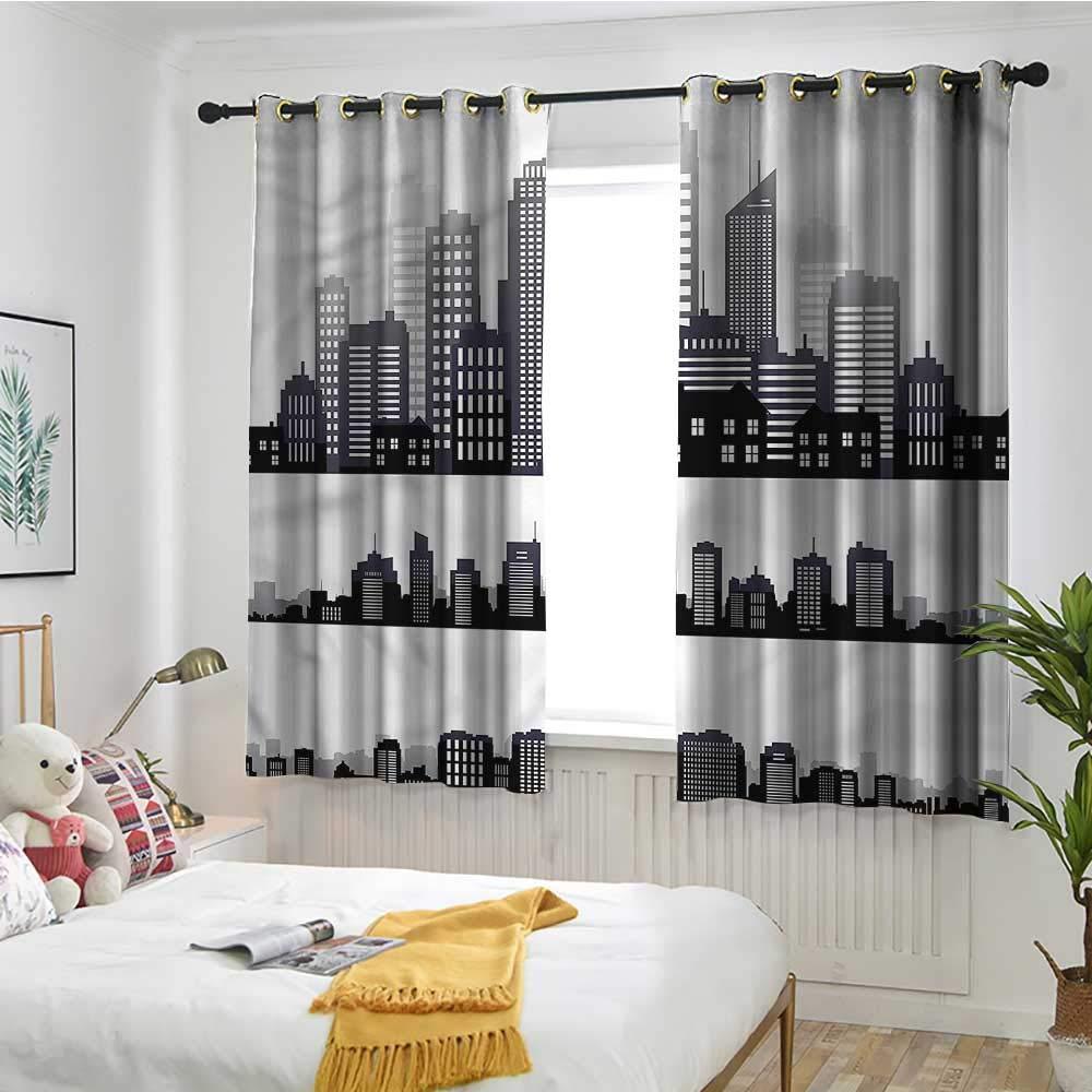 Amazon.com: Double Curtain Rod City,Long Buildings Skyline ...