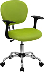 Flash Furniture Mid-Back Apple Green Mesh Padded Swivel Task Office Chair with Chrome Base and Arms