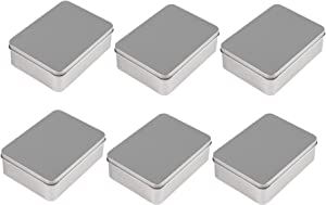 Juvale Rectangular Tin Box with Lid - 6-Pack Empty Tin Can Storage Container for Treats, Gifts, Favors and Crafts, Silver, 4.9 x 3.7 x 1.6 Inches