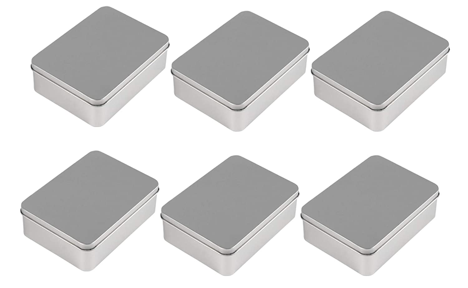 Juvale Rectangular Tin Box with Lid - 6-Pack Empty Tin Can Storage Container for Treats, Gifts, Favors and Crafts, Gold, 4.9 x 3.7 x 1.6 Inches