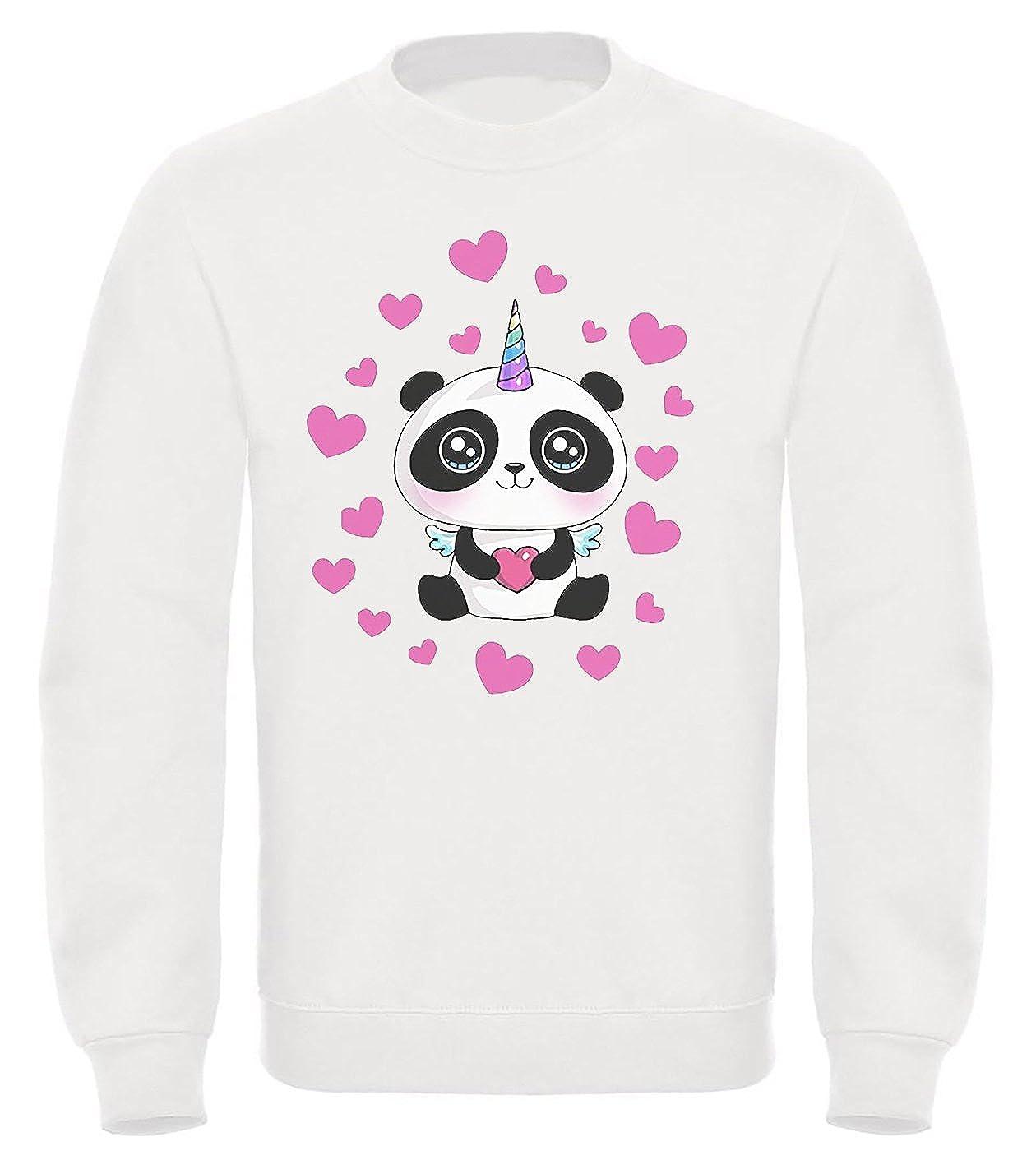 Felpa del Pandacorno - Mod. Girocollo Youtuber Italiani Panda Corno Taglie Bambino, Ragazzo, Adulti Unisex (11-12 Anni) 2231