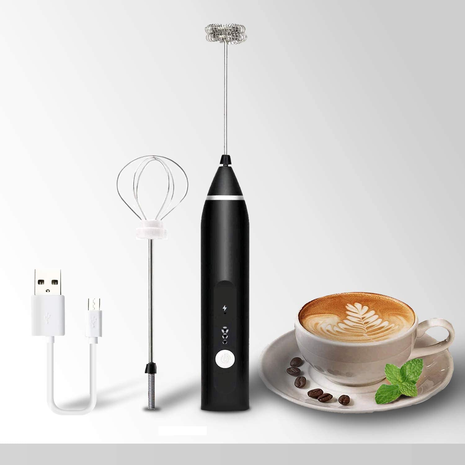 Milk Frother 2 Spring Whisk Heads, Electric Handheld Foam Maker 3 Speeds Egg Beater Drink Mixer, USB Rechargeable Mini Blender for Coffee Latte Cappuccino Hot Chocolate