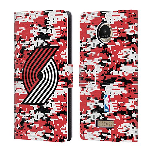 Official NBA Digital Camouflage Portland Trail Blazers Leather Book Wallet Case Cover For Motorola Moto Z Play / - Portland Moto