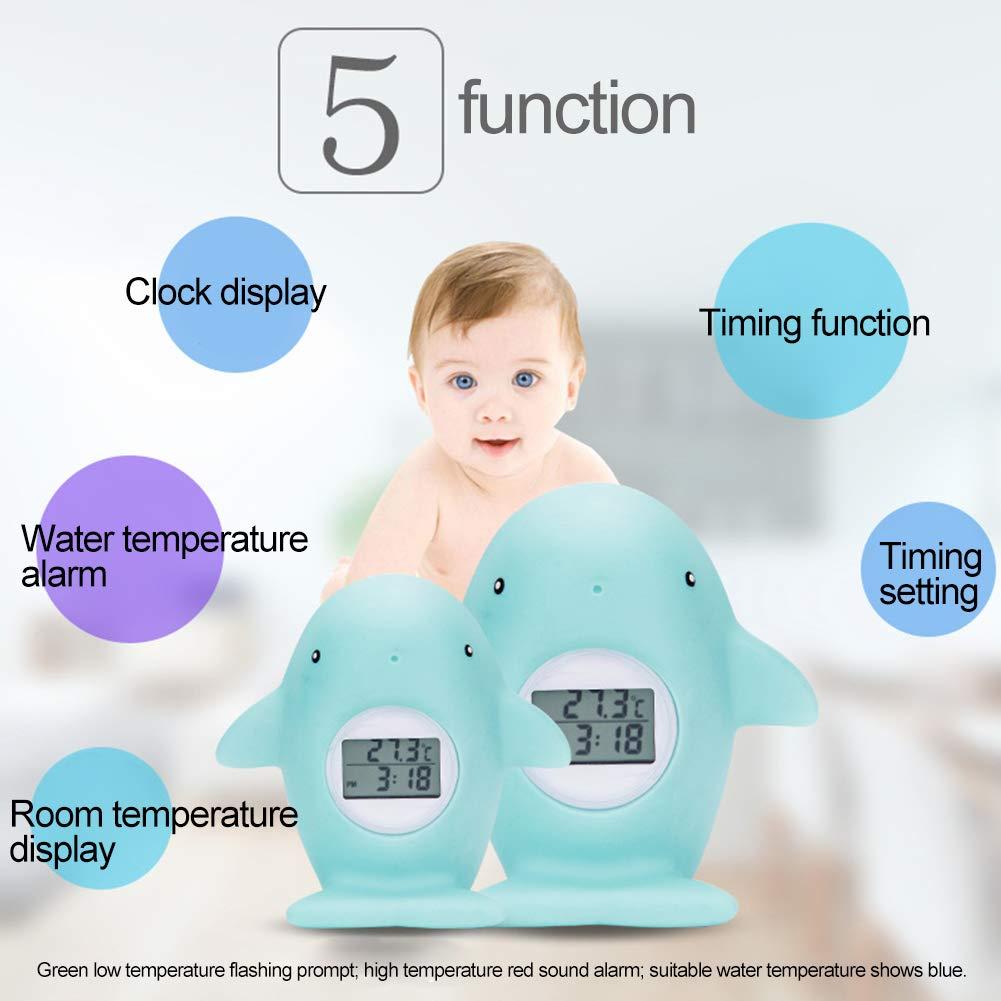 elektronisch Wasserthermometer Einheitsgr/ö/ße einfarbig digital XQxiqi689sy Haustier Cartoon-Wal Timing-Licht Alarm f/ür Baby-Badewanne