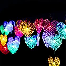 Dephen Solar Christmas Lights, 20ft 30 LED Multi-color Solar Powered Heart Shaped Fairy String Lights Garden Lights for Wedding Party Patio Home Christmas Tree Decorations