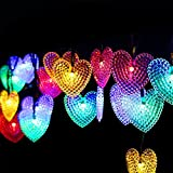 Dephen Solar Christmas Lights - 20ft 30 LED Multi-color Solar Powered Heart Shaped Fairy String Lights Garden Lights for Wedding Party Patio Home Christmas Tree Decorations