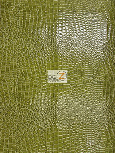 Big Z Fabric Vinyl Faux Fake Leather Pleather Embossed Shiny Alligator Fabric by The Yard DIY Upholstery Accessories (Lime) Closeout!